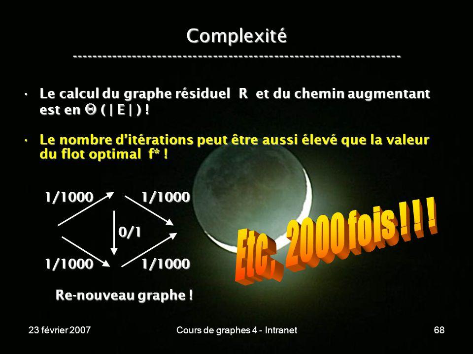 23 février 2007Cours de graphes 4 - Intranet68 Complexité ----------------------------------------------------------------- Le calcul du graphe résiduel R et du chemin augmentant est en ( | E | ) !Le calcul du graphe résiduel R et du chemin augmentant est en ( | E | ) .
