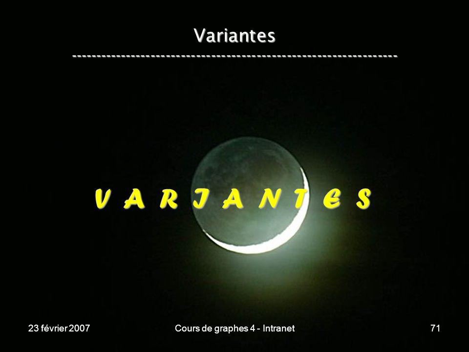 23 février 2007Cours de graphes 4 - Intranet71 V A R I A N T E S Variantes -----------------------------------------------------------------