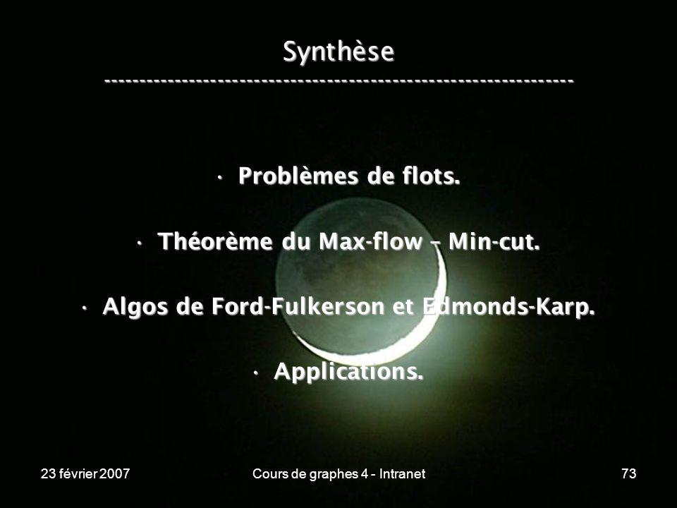 23 février 2007Cours de graphes 4 - Intranet73 Synthèse ----------------------------------------------------------------- Problèmes de flots.Problèmes de flots.