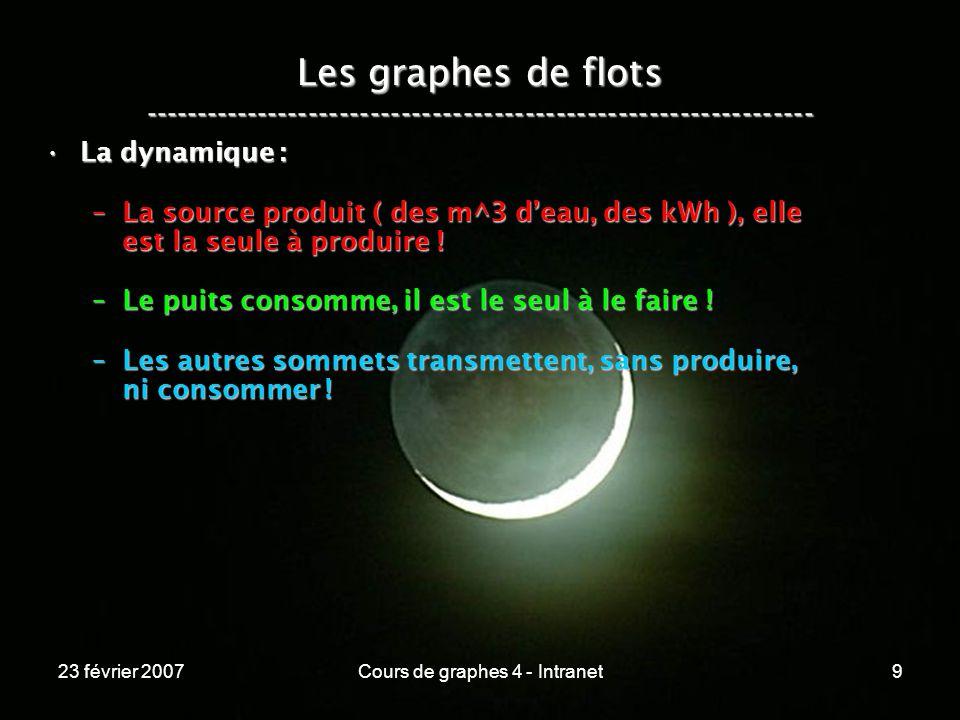 23 février 2007Cours de graphes 4 - Intranet9 Les graphes de flots ----------------------------------------------------------------- La dynamique :La dynamique : –La source produit ( des m^3 deau, des kWh ), elle est la seule à produire .