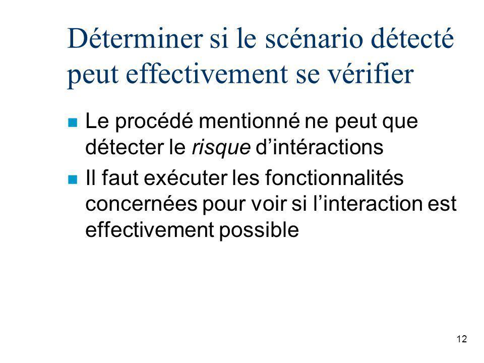 12 Déterminer si le scénario détecté peut effectivement se vérifier n Le procédé mentionné ne peut que détecter le risque dintéractions n Il faut exécuter les fonctionnalités concernées pour voir si linteraction est effectivement possible