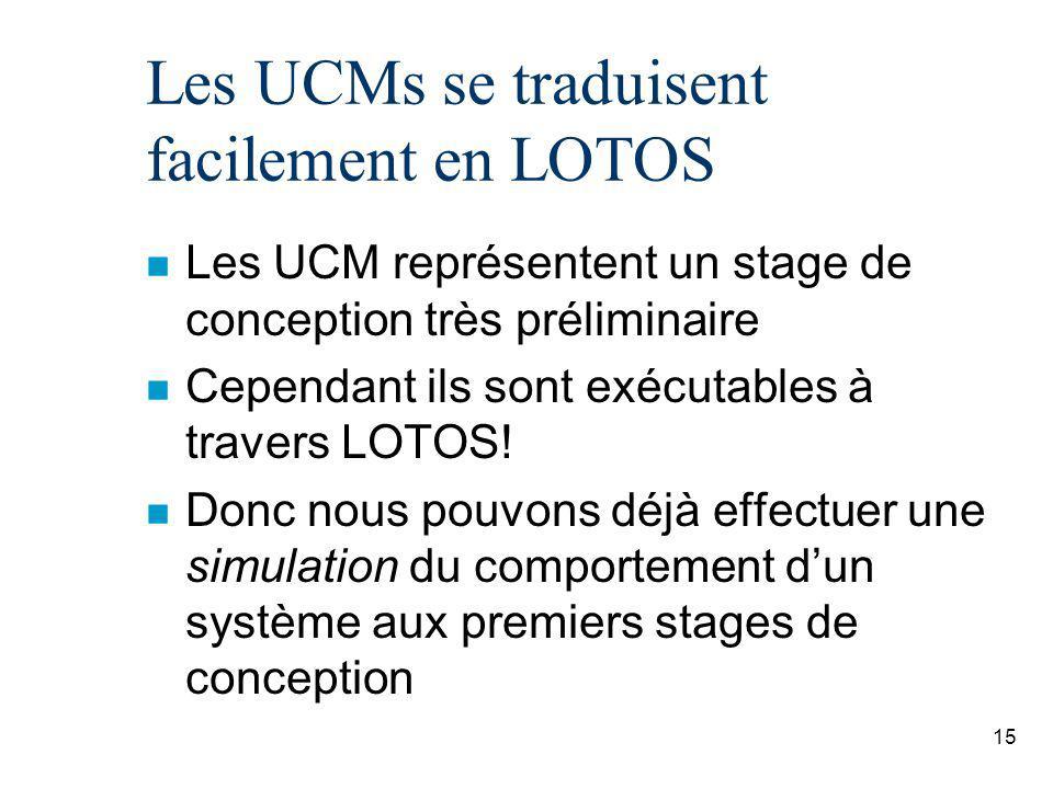 15 Les UCMs se traduisent facilement en LOTOS n Les UCM représentent un stage de conception très préliminaire n Cependant ils sont exécutables à travers LOTOS.