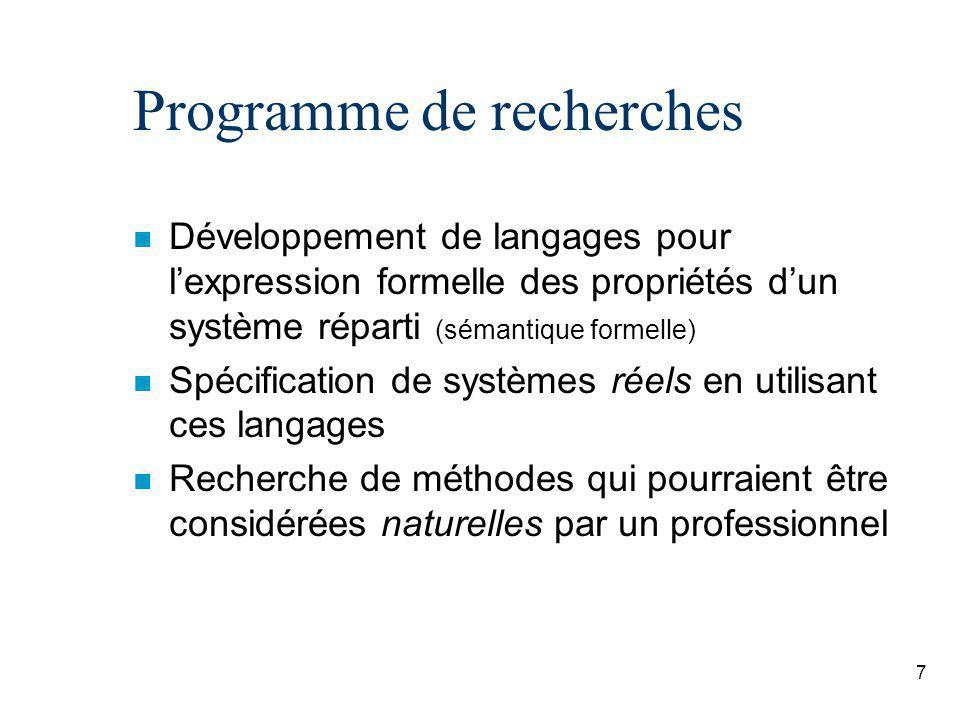7 Programme de recherches n Développement de langages pour lexpression formelle des propriétés dun système réparti (sémantique formelle) n Spécification de systèmes réels en utilisant ces langages n Recherche de méthodes qui pourraient être considérées naturelles par un professionnel