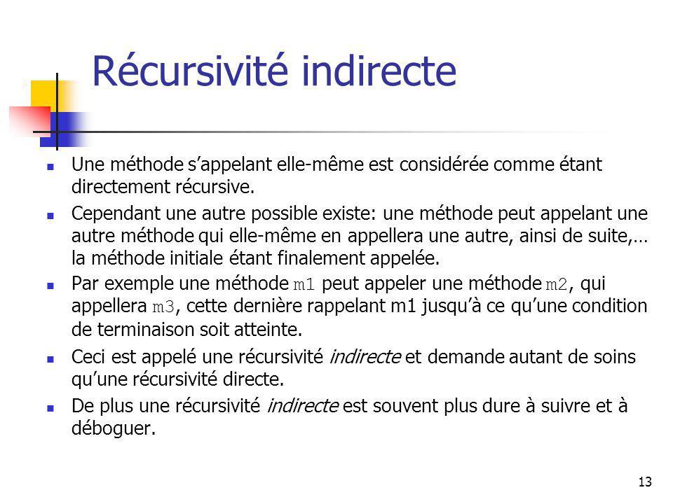 13 Récursivité indirecte Une méthode sappelant elle-même est considérée comme étant directement récursive. Cependant une autre possible existe: une mé