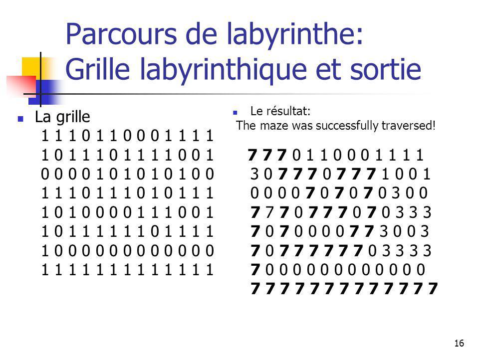 16 Parcours de labyrinthe: Grille labyrinthique et sortie Le résultat: The maze was successfully traversed! 7 7 7 0 1 1 0 0 0 1 1 1 1 3 0 7 7 7 0 7 7