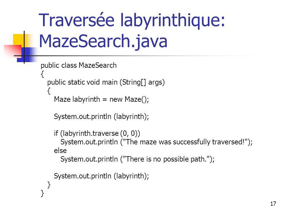 17 Traversée labyrinthique: MazeSearch.java public class MazeSearch { public static void main (String[] args) { Maze labyrinth = new Maze(); System.ou