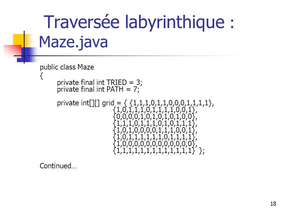 18 Traversée labyrinthique : Maze.java public class Maze { private final int TRIED = 3; private final int PATH = 7; private int[][] grid = { {1,1,1,0,