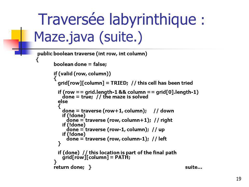 19 Traversée labyrinthique : Maze.java (suite.) public boolean traverse (int row, int column) { boolean done = false; if (valid (row, column)) { grid[
