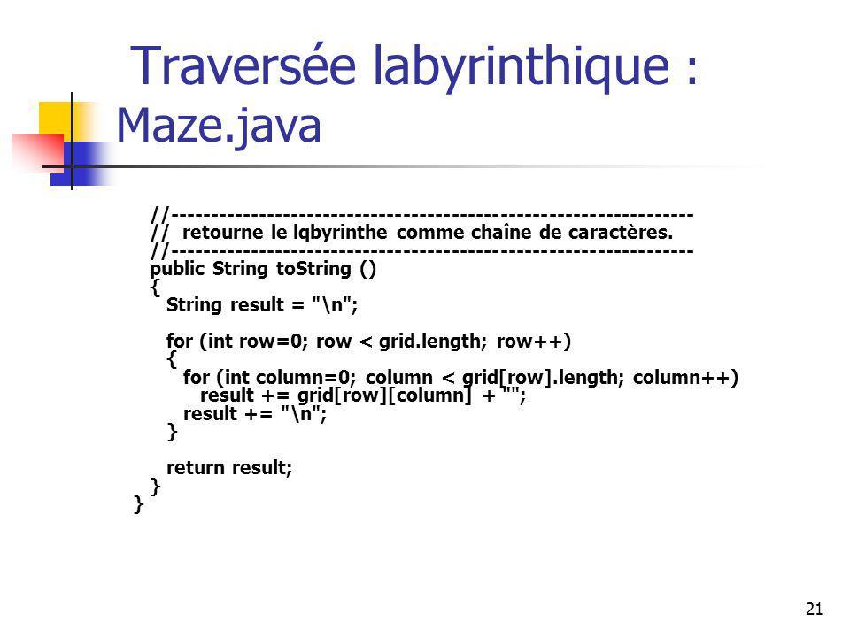21 Traversée labyrinthique : Maze.java //----------------------------------------------------------------- // retourne le lqbyrinthe comme chaîne de c