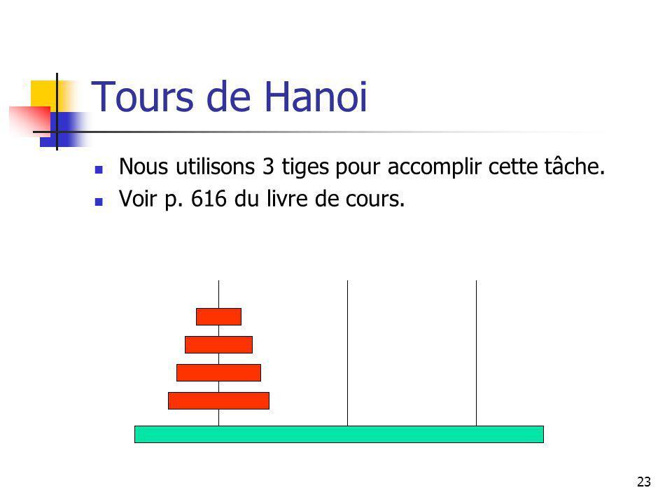 23 Tours de Hanoi Nous utilisons 3 tiges pour accomplir cette tâche. Voir p. 616 du livre de cours.