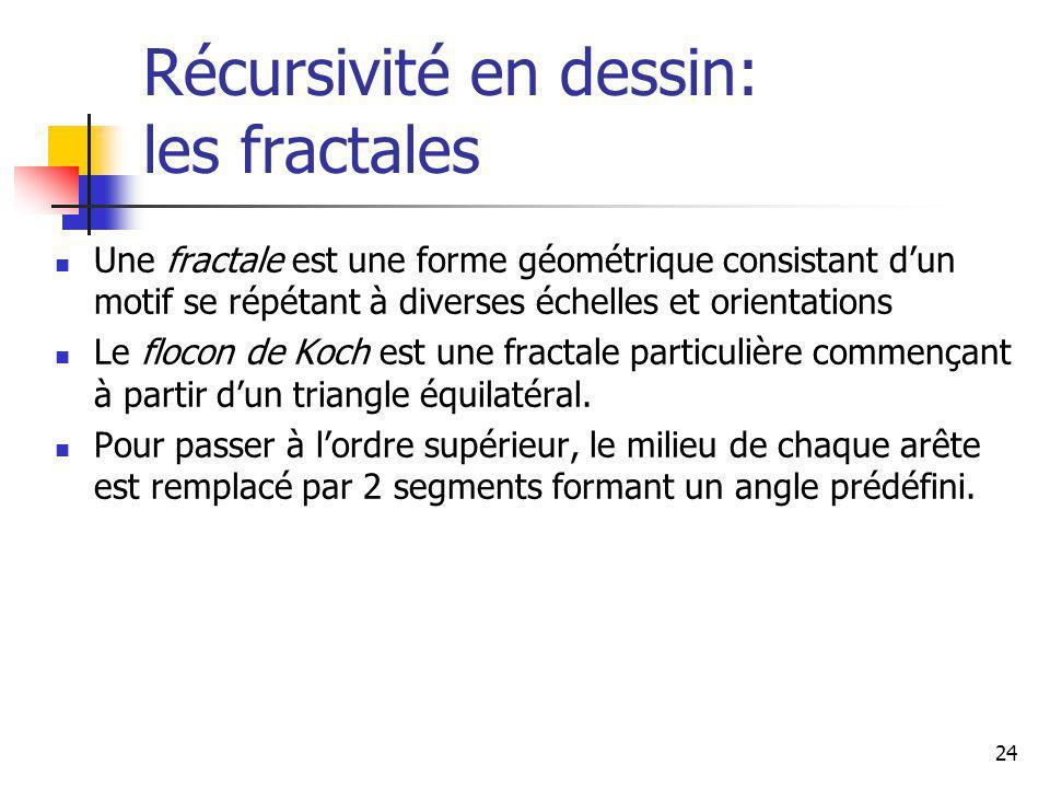 24 Récursivité en dessin: les fractales Une fractale est une forme géométrique consistant dun motif se répétant à diverses échelles et orientations Le