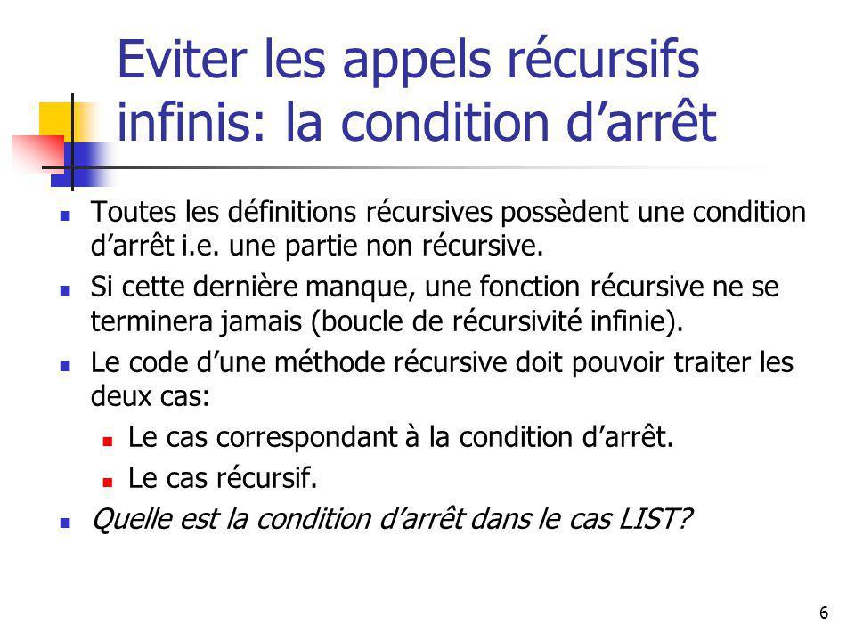 6 Eviter les appels récursifs infinis: la condition darrêt Toutes les définitions récursives possèdent une condition darrêt i.e. une partie non récurs