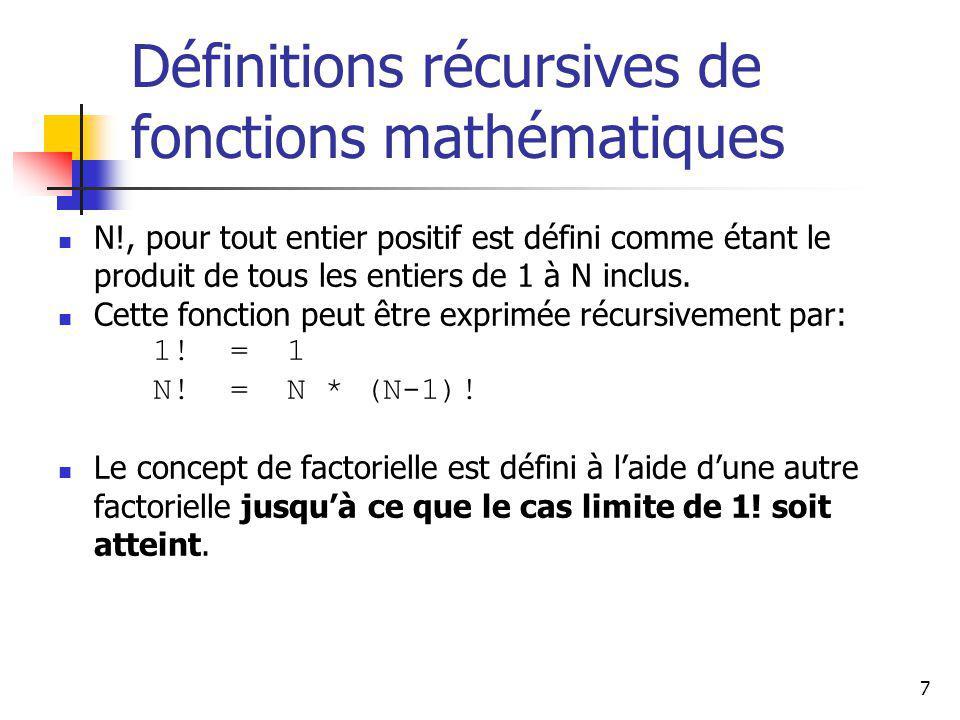 7 Définitions récursives de fonctions mathématiques N!, pour tout entier positif est défini comme étant le produit de tous les entiers de 1 à N inclus