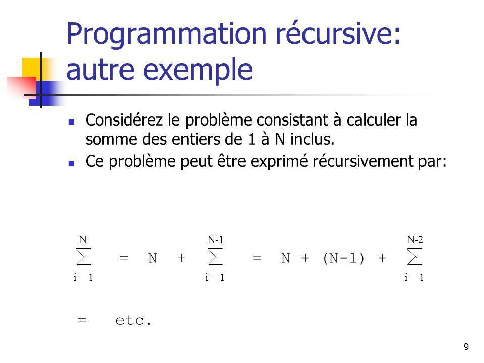 9 Programmation récursive: autre exemple Considérez le problème consistant à calculer la somme des entiers de 1 à N inclus. Ce problème peut être expr