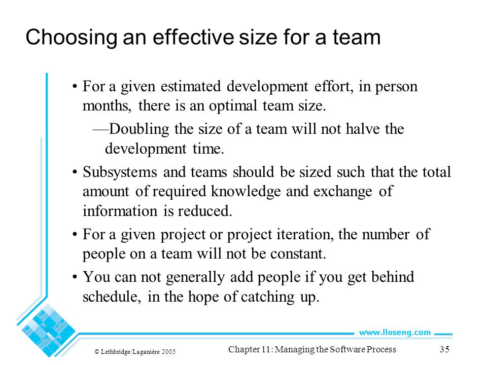 © Lethbridge/Laganière 2005 Chapter 11: Managing the Software Process35 Choosing an effective size for a team For a given estimated development effort, in person months, there is an optimal team size.