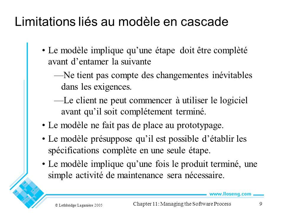 © Lethbridge/Laganière 2005 Chapter 11: Managing the Software Process9 Limitations liés au modèle en cascade Le modèle implique quune étape doit être complèté avant dentamer la suivante Ne tient pas compte des changementes inévitables dans les exigences.