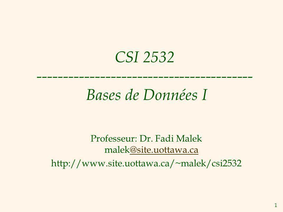 1 CSI 2532 ----------------------------------------- Bases de Données I Professeur: Dr. Fadi Malek malek@site.uottawa.ca@site.uottawa.ca http://www.si