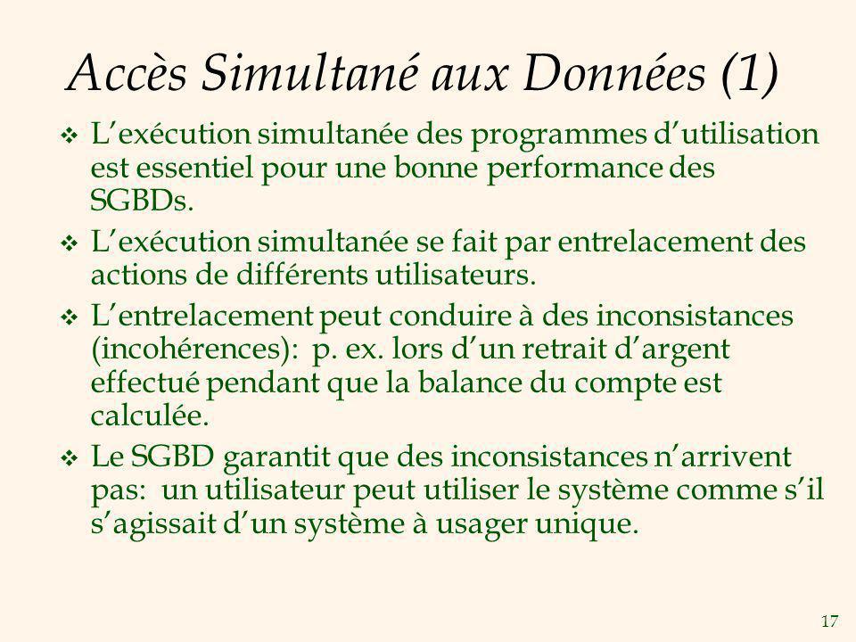 17 Accès Simultané aux Données (1) Lexécution simultanée des programmes dutilisation est essentiel pour une bonne performance des SGBDs. Lexécution si