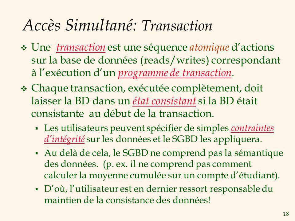 18 Accès Simultané: Transaction Une transaction est une séquence atomique dactions sur la base de données (reads/writes) correspondant à lexécution du