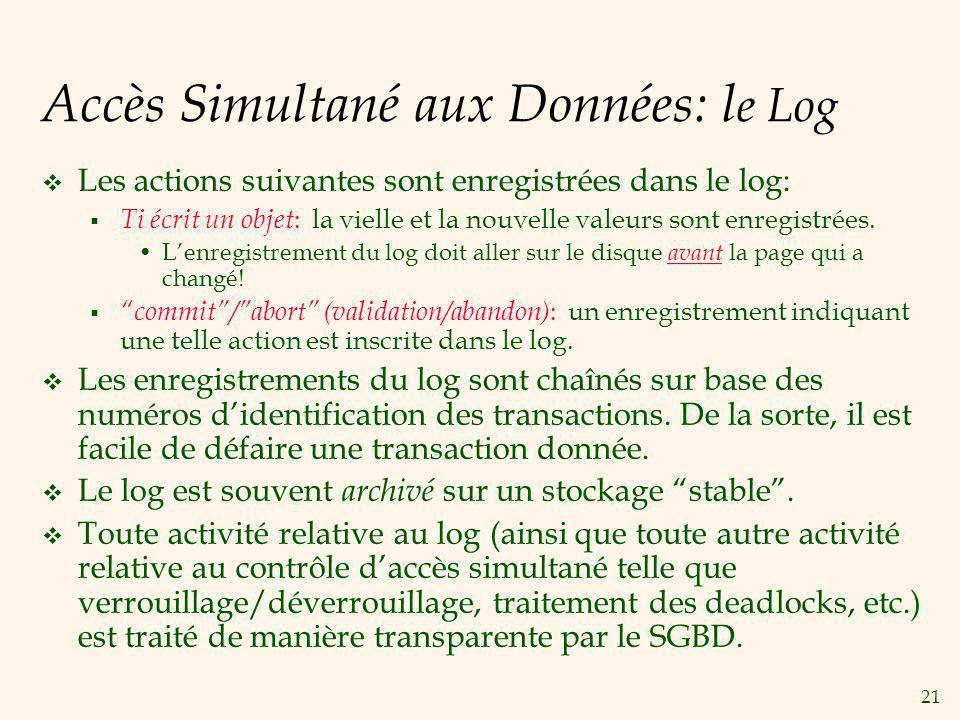 21 Accès Simultané aux Données: l e Log Les actions suivantes sont enregistrées dans le log: Ti écrit un objet : la vielle et la nouvelle valeurs sont