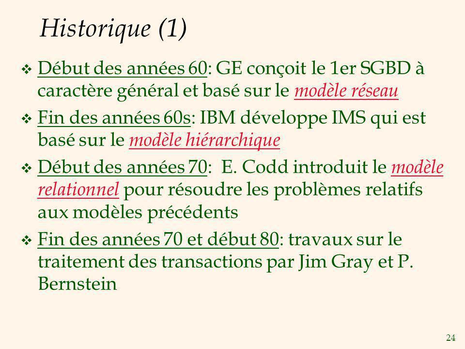 24 Historique (1) Début des années 60: GE conçoit le 1er SGBD à caractère général et basé sur le modèle réseau Fin des années 60s: IBM développe IMS q