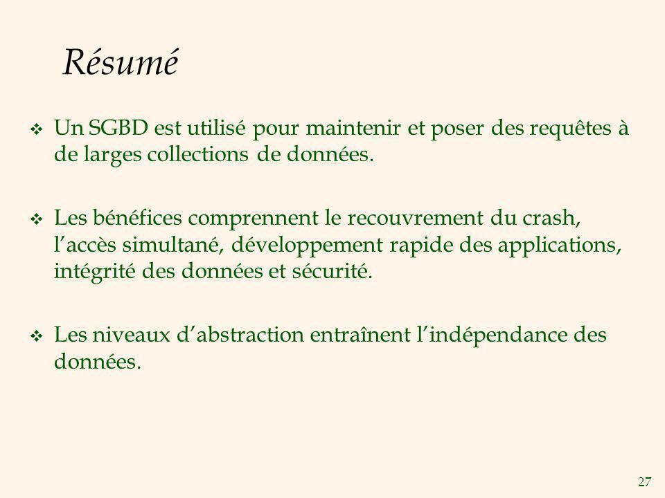 27 Résumé Un SGBD est utilisé pour maintenir et poser des requêtes à de larges collections de données. Les bénéfices comprennent le recouvrement du cr
