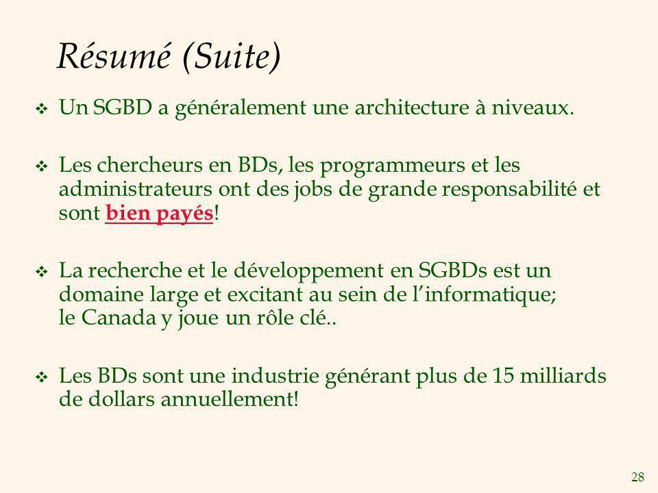 28 Résumé (Suite) Un SGBD a généralement une architecture à niveaux. Les chercheurs en BDs, les programmeurs et les administrateurs ont des jobs de gr