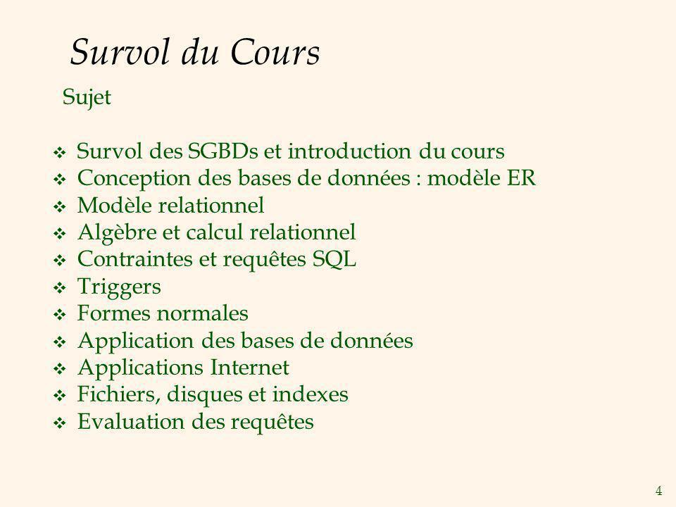 4 Survol du Cours Sujet Survol des SGBDs et introduction du cours Conception des bases de données : modèle ER Modèle relationnel Algèbre et calcul rel