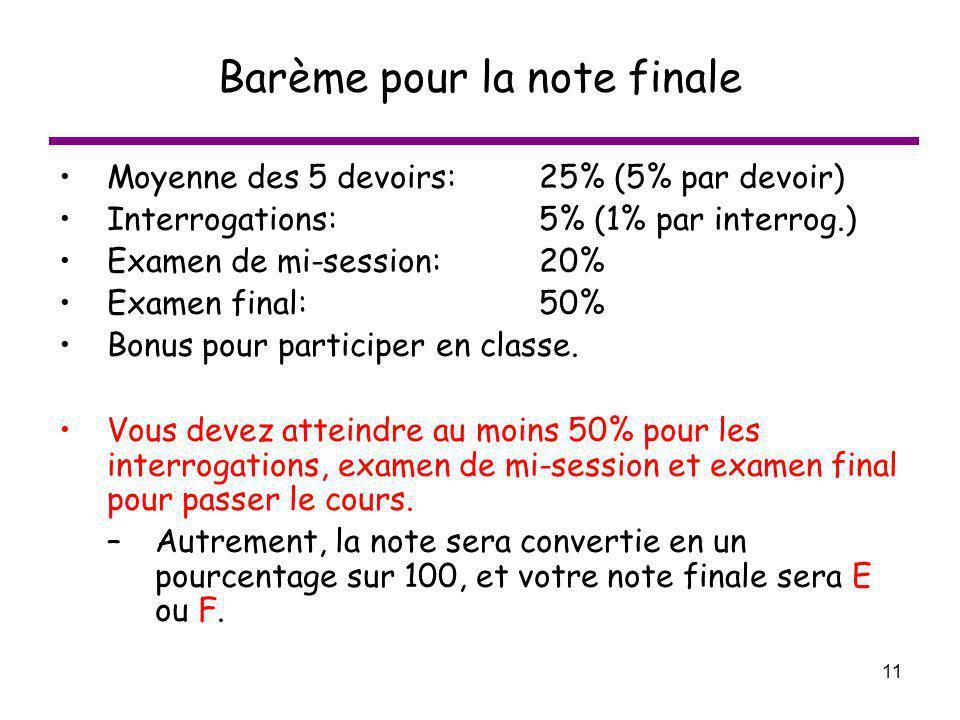 11 Barème pour la note finale Moyenne des 5 devoirs: 25% (5% par devoir) Interrogations:5% (1% par interrog.) Examen de mi-session:20% Examen final:50