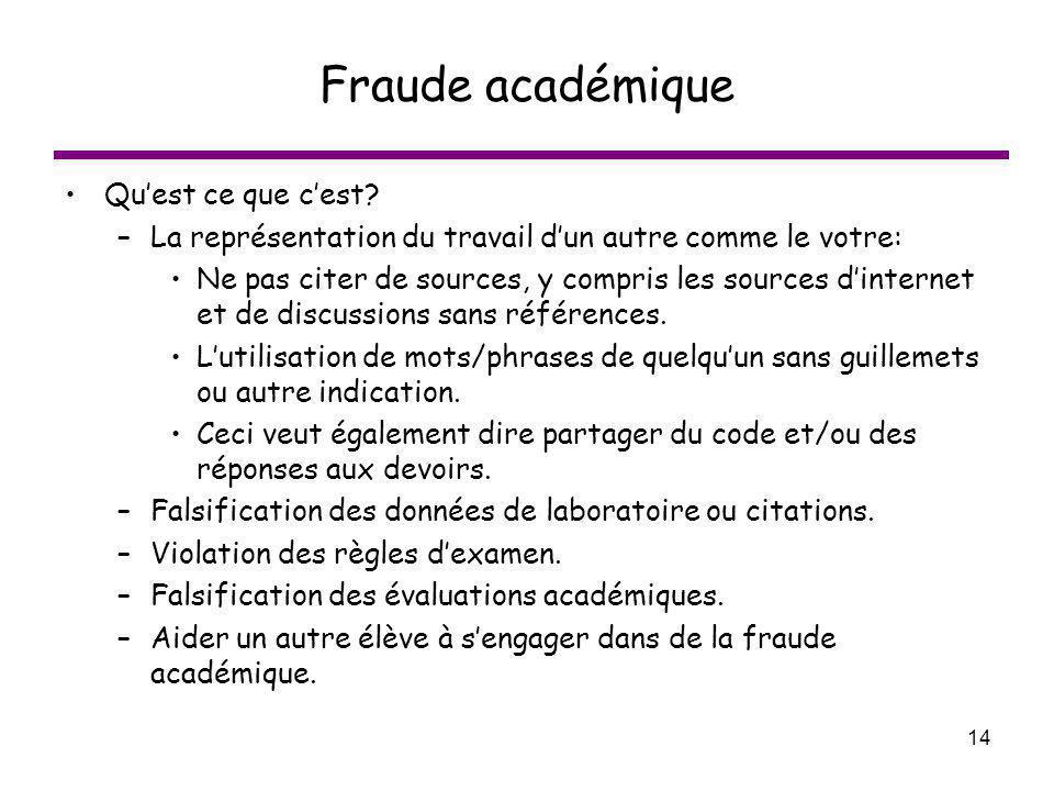 14 Fraude académique Quest ce que cest? –La représentation du travail dun autre comme le votre: Ne pas citer de sources, y compris les sources dintern