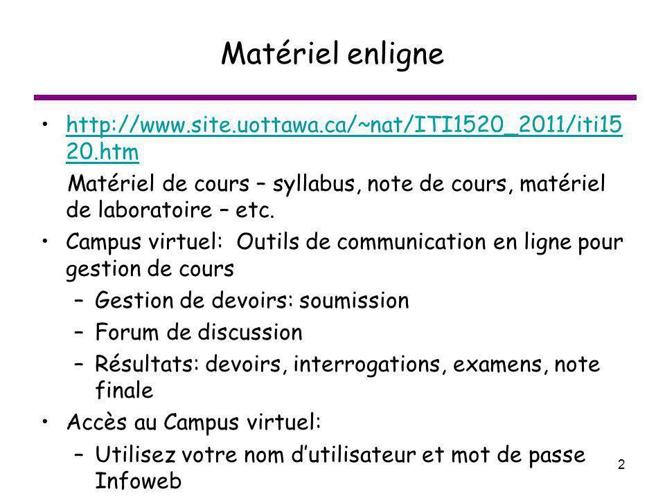 2 Matériel enligne http://www.site.uottawa.ca/~nat/ITI1520_2011/iti15 20.htmhttp://www.site.uottawa.ca/~nat/ITI1520_2011/iti15 20.htm Matériel de cour