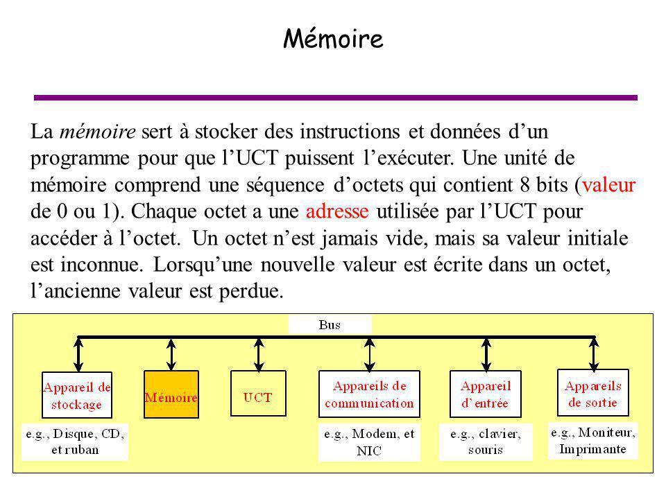 21 Mémoire La mémoire sert à stocker des instructions et données dun programme pour que lUCT puissent lexécuter. Une unité de mémoire comprend une séq