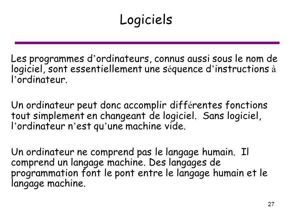 27 Logiciels Les programmes d ordinateurs, connus aussi sous le nom de logiciel, sont essentiellement une s é quence d instructions à l ordinateur. Un