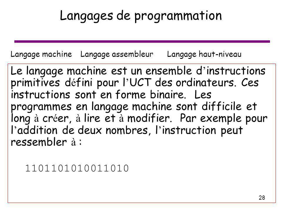 28 Langages de programmation Langage machine Langage assembleur Langage haut-niveau Le langage machine est un ensemble d instructions primitives d é f