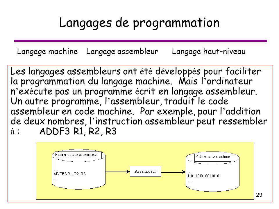 29 Langages de programmation Langage machine Langage assembleur Langage haut-niveau Les langages assembleurs ont é t é d é velopp é s pour faciliter l