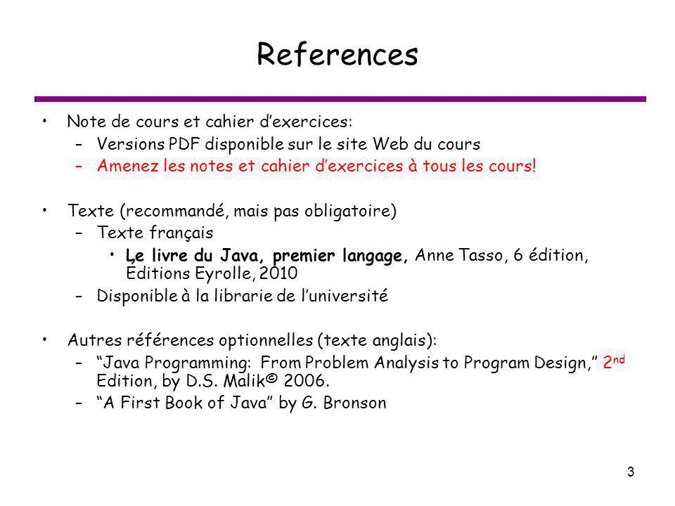 3 References Note de cours et cahier dexercices: –Versions PDF disponible sur le site Web du cours –Amenez les notes et cahier dexercices à tous les c