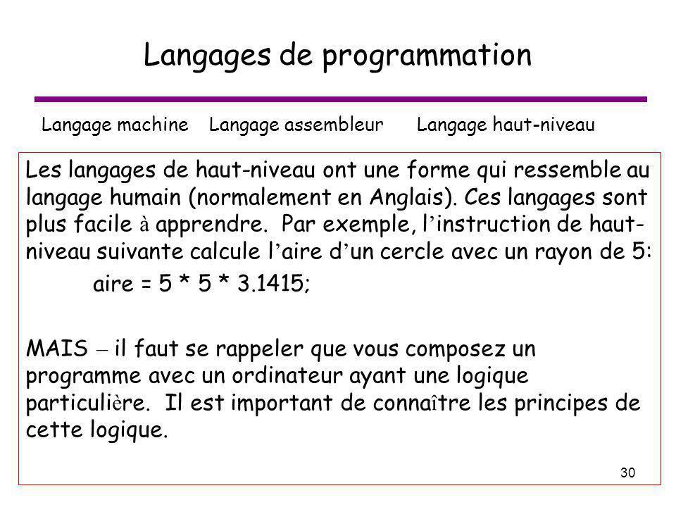 30 Langages de programmation Langage machine Langage assembleur Langage haut-niveau Les langages de haut-niveau ont une forme qui ressemble au langage