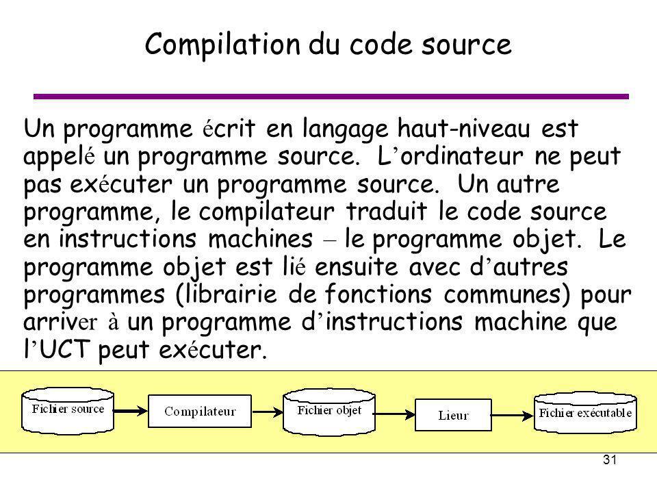31 Compilation du code source Un programme é crit en langage haut-niveau est appel é un programme source. L ordinateur ne peut pas ex é cuter un progr
