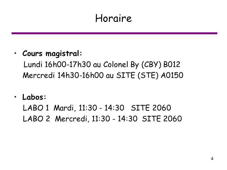 4 Horaire Cours magistral: Lundi 16h00-17h30 au Colonel By (CBY) B012 Mercredi 14h30-16h00 au SITE (STE) A0150 Labos: LABO 1 Mardi, 11:30 - 14:30 SITE