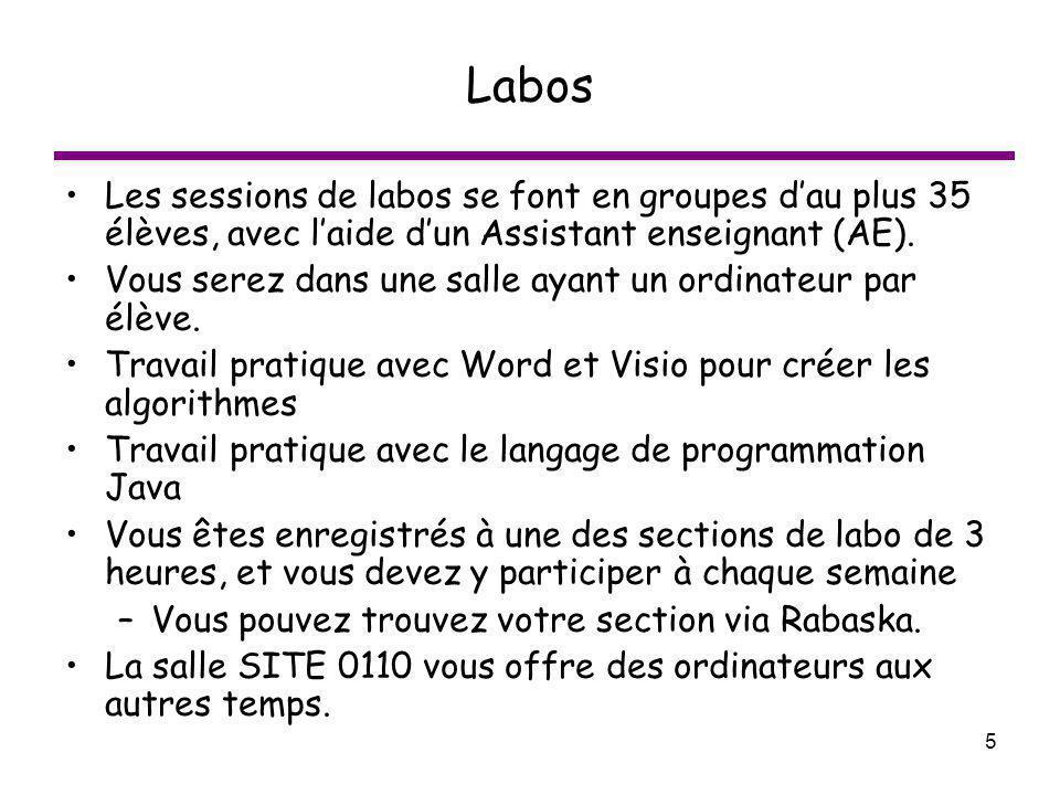 5 Labos Les sessions de labos se font en groupes dau plus 35 élèves, avec laide dun Assistant enseignant (AE). Vous serez dans une salle ayant un ordi