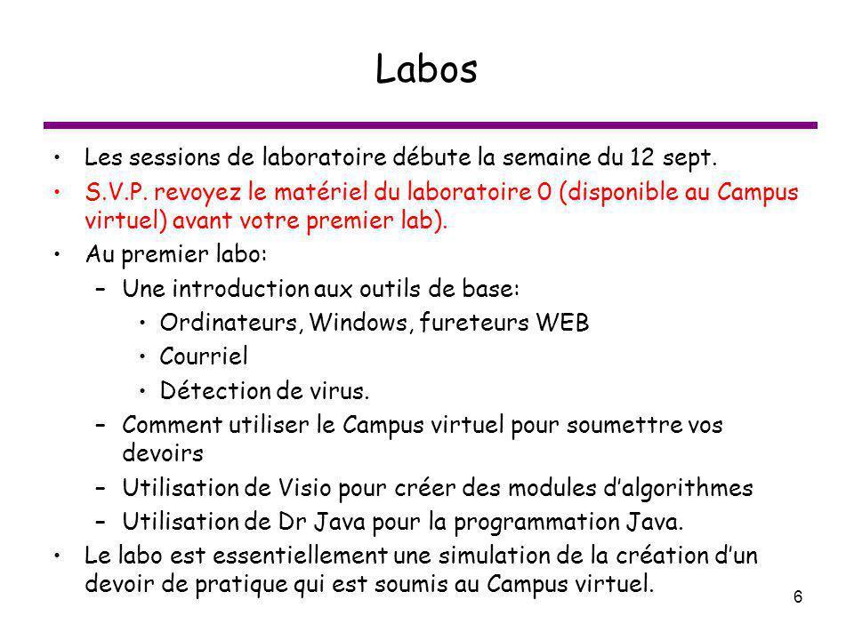 6 Labos Les sessions de laboratoire débute la semaine du 12 sept. S.V.P. revoyez le matériel du laboratoire 0 (disponible au Campus virtuel) avant vot