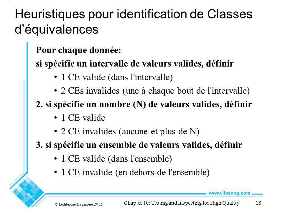Heuristiques pour identification de Classes déquivalences Pour chaque donnée: si spécifie un intervalle de valeurs valides, définir 1 CE valide (dans l intervalle) 2 CEs invalides (une à chaque bout de l intervalle) 2.
