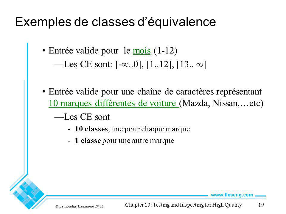 © Lethbridge/Laganière 2012 Chapter 10: Testing and Inspecting for High Quality19 Exemples de classes déquivalence Entrée valide pour le mois (1-12) Les CE sont: [-..0], [1..12], [13..