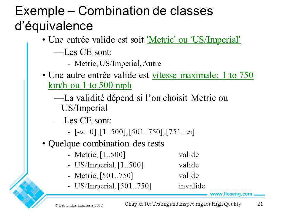 © Lethbridge/Laganière 2012 Chapter 10: Testing and Inspecting for High Quality21 Exemple – Combination de classes déquivalence Une entrée valide est
