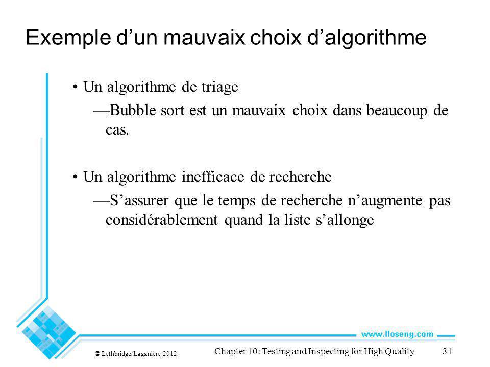 © Lethbridge/Laganière 2012 Chapter 10: Testing and Inspecting for High Quality31 Exemple dun mauvaix choix dalgorithme Un algorithme de triage Bubble