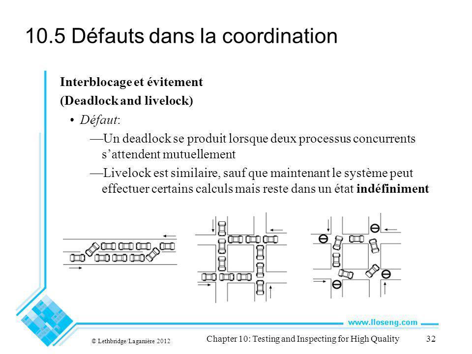 © Lethbridge/Laganière 2012 Chapter 10: Testing and Inspecting for High Quality32 10.5 Défauts dans la coordination Interblocage et évitement (Deadloc