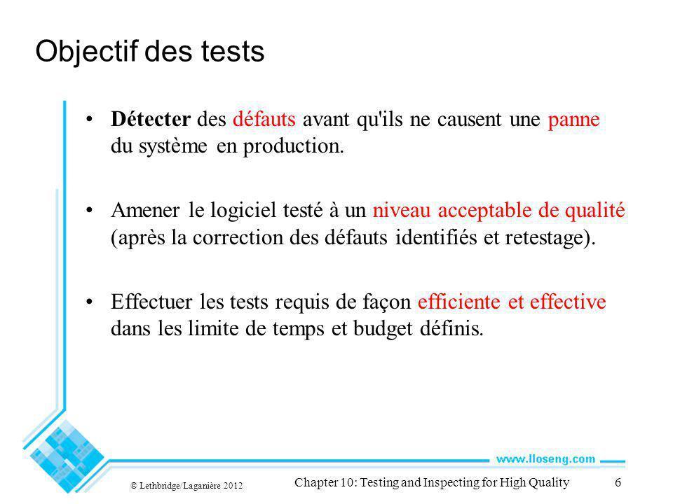 Objectif des tests Détecter des défauts avant qu ils ne causent une panne du système en production.