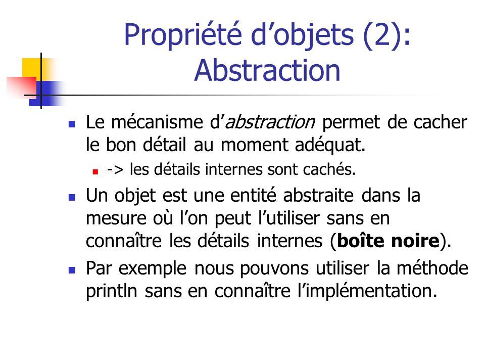 Propriété dobjets (2): Abstraction Le mécanisme dabstraction permet de cacher le bon détail au moment adéquat. -> les détails internes sont cachés. Un