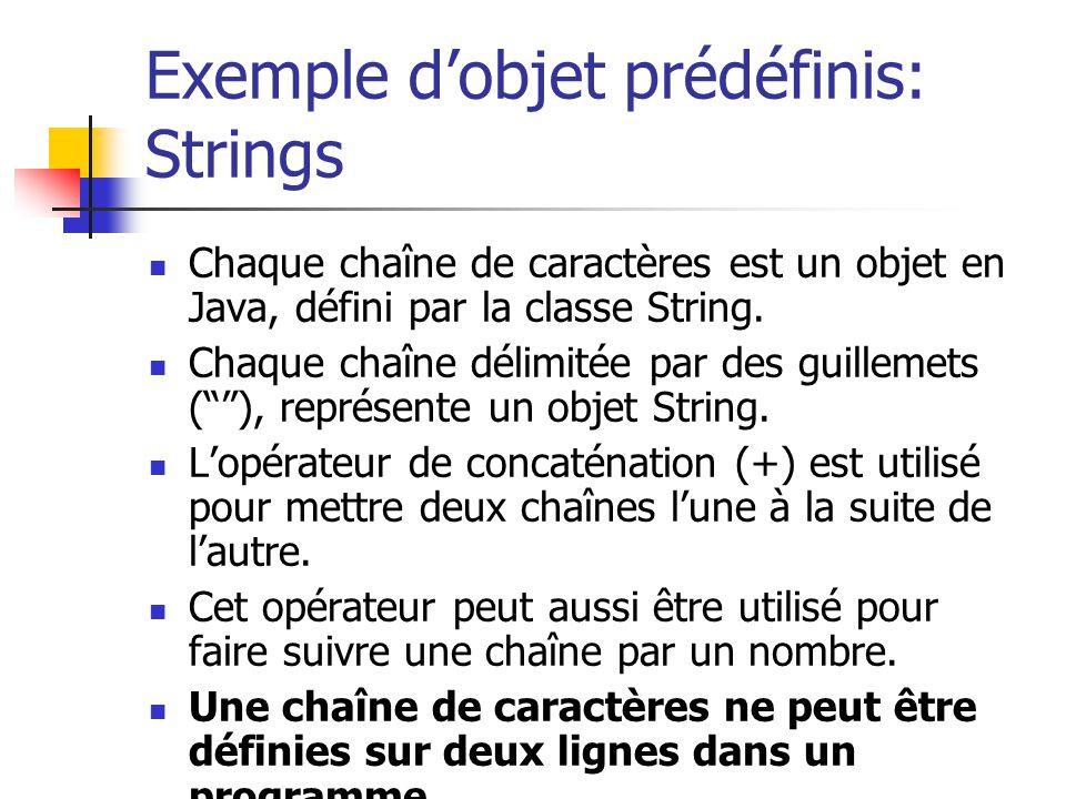 Exemple dobjet prédéfinis: Strings Chaque chaîne de caractères est un objet en Java, défini par la classe String. Chaque chaîne délimitée par des guil