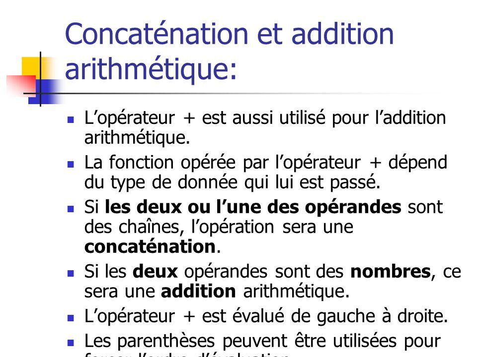 Concaténation et addition arithmétique: Lopérateur + est aussi utilisé pour laddition arithmétique. La fonction opérée par lopérateur + dépend du type